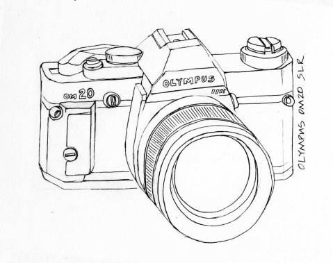 Camera Olympus OM20 Drawing