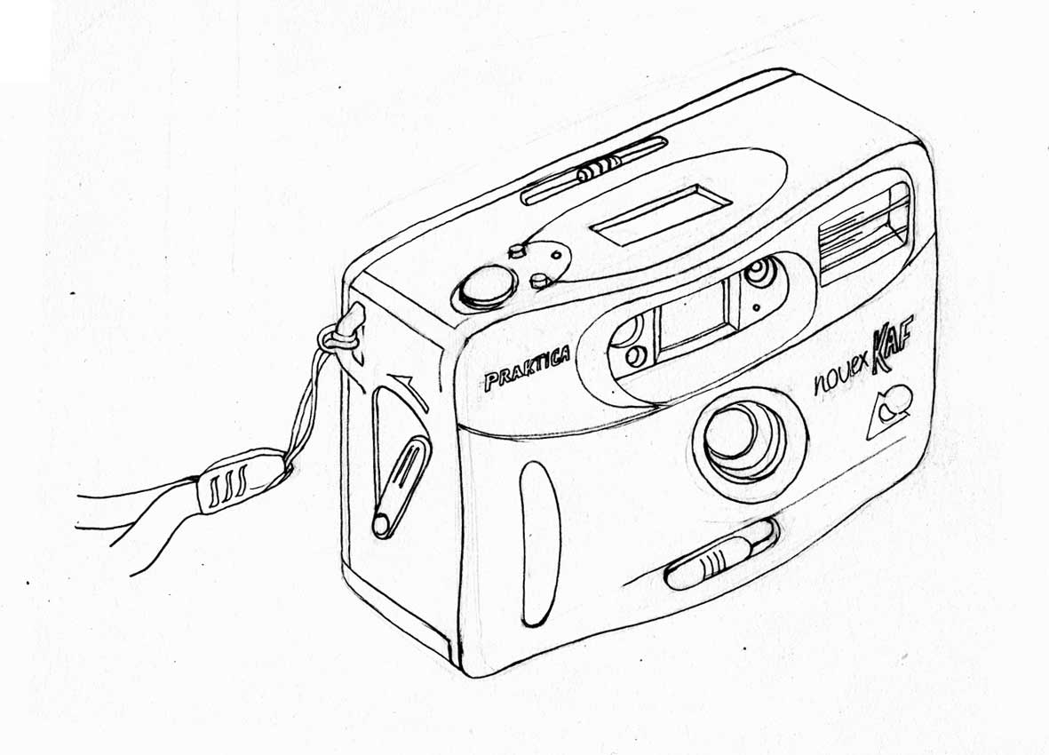 Line Art Camera : Line drawings of my cameras being a freelance artist