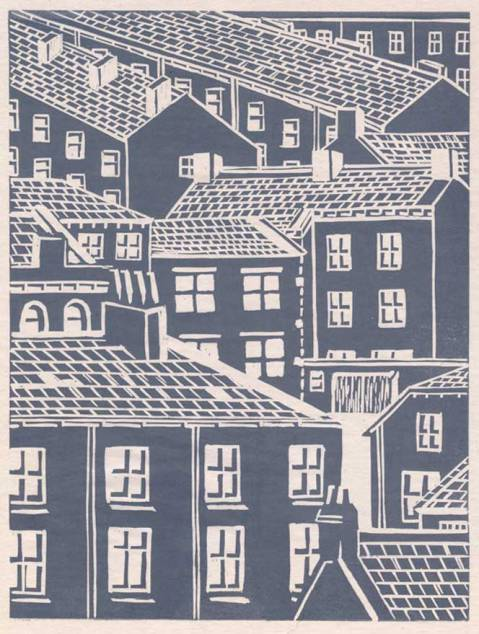 Lino cut print - Mossley Houses