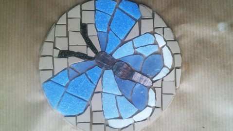 Mosaics Common Blue Butterfly