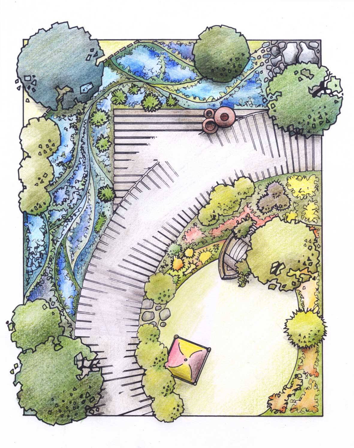 Garden design being a freelance artist for Garden landscape drawing